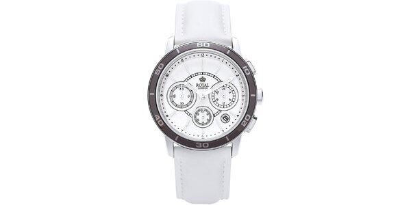 Bílé analogové hodinky s chronografem Royal London