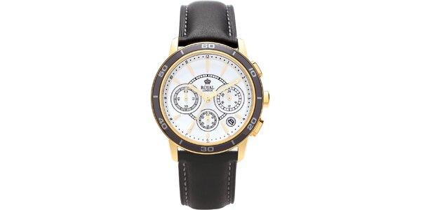 Černo-zlaté analogové hodinky s chronografem Royal London