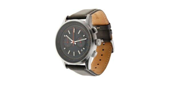 Marc O´Polo hodinky s tmavě zeleným koženým řemínkem a černým ciferníkem