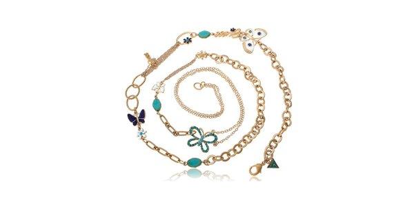 Dámský zlatý ocelový náhrdelník Guess s motýlky