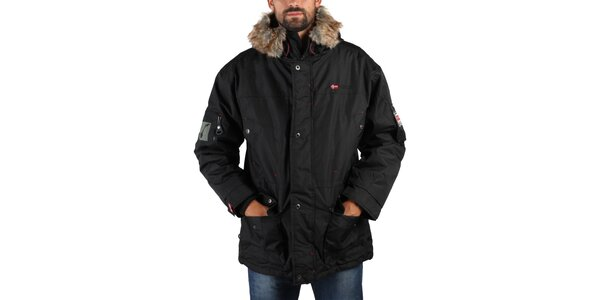 Pánská černá zimní bunda s kožíškem Geographical Norway