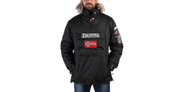 Pánská černá zimní bunda s kožíškem a norskou vlajkou Geographical Norway