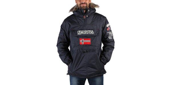 Pánská tmavě modrá zimní bunda s kožíškem a norskou vlajkou Geographical Norway