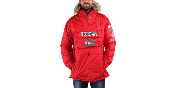 Pánská červená zimní bunda s kožíškem a norskou vlajkou Geographical Norway