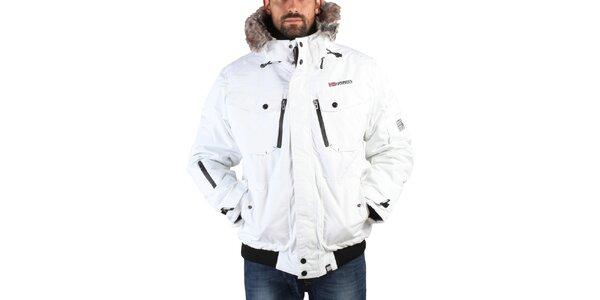 Pánská bílá zimní bunda s kožíškem Geographical Norway