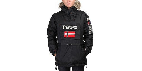 Dámská černá bunda s norskou vlajkou Geographical Norway