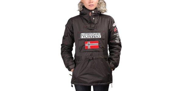 Dámská hnědá bunda s norskou vlajkou Geographical Norway