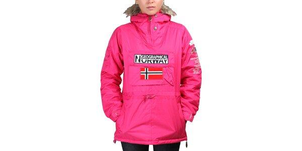 Dámská růžová bunda s norskou vlajkou Geographical Norway