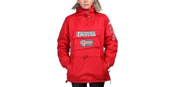 Dámská červená bunda s norskou vlajkou Geographical Norway