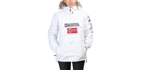 Dámská bílá bunda s norskou vlajkou Geographical Norway