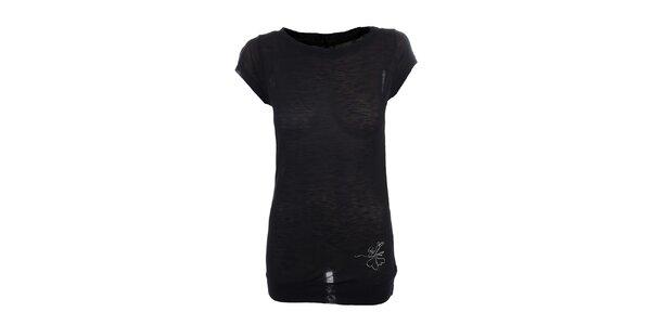 Dámské černé tričko s malým potiskem Loap