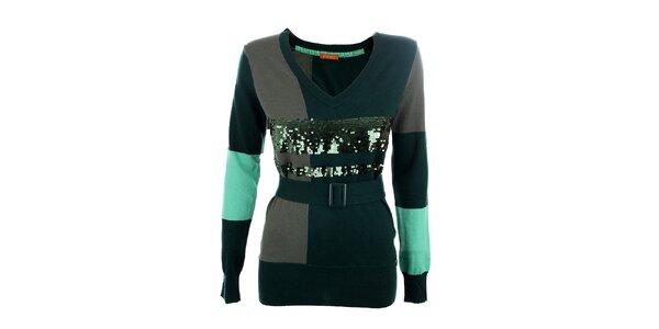 Dámský zelený svetr s flitry Phard