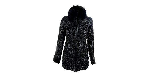 Dámský černý lesklý kabát Phard