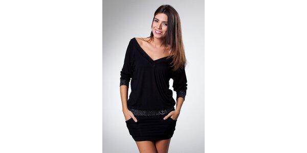 Dámské černé mini šaty Caniche s kamínky