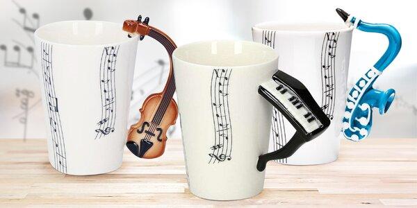 Ručně malované hudební hrnky: 3 různé nástroje