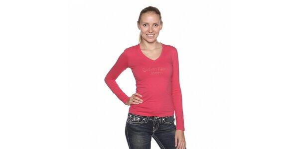 Dámské růžové tričko Calvin Klein s kamínky