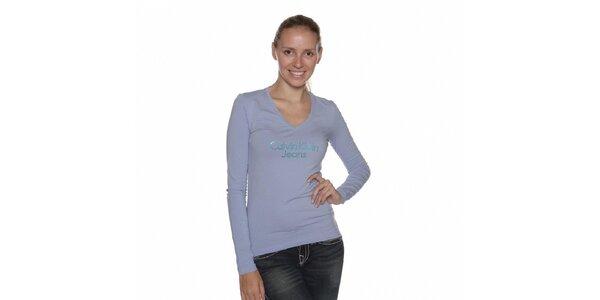 Dámské světle modré tričko Calvin Klein s kamínky