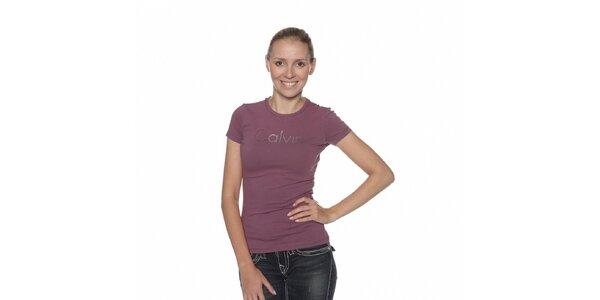 Dámské fialové tričko Calvin Klein s potiskem a kamínky