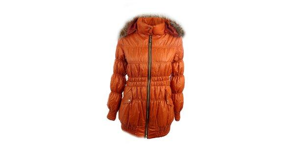 Dámská oranžová bunda Mezzo s kapucí
