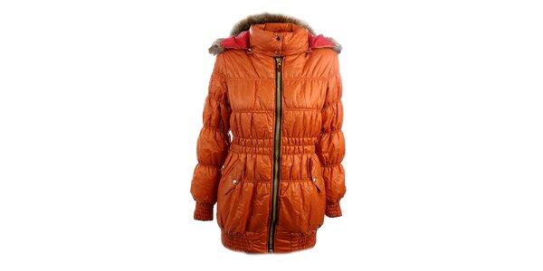 Dámská oranžová bunda Mezzo s červeně podšitou kapucí