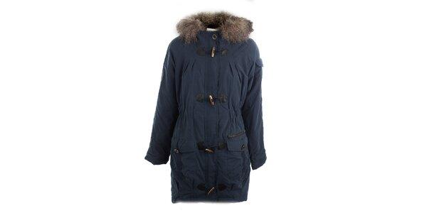 Dámský modrý kabát s kožešinou Vila
