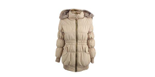 Dámská béžová prošívaná bunda s kožešinou Mezzo