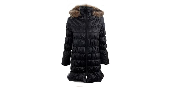 Dámský černý kabát s kapucí a kožešinkou Mezzo