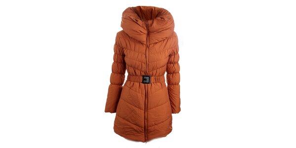 Dámská cihlově oranžový prošívaný kabát Fridays Made in Italy