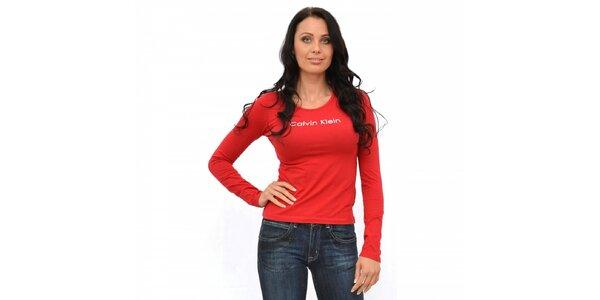 Dámské červené tričko Calvin Klein s dlouhým rukávem