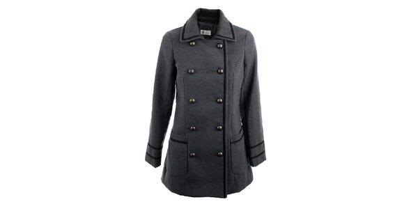 Dámský šedý dvouřadý kabát K.Women