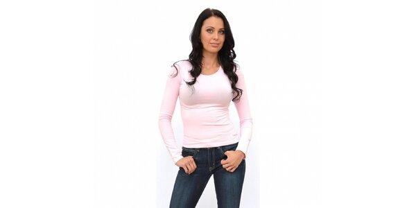 Dámské světle růžové tričko Calvin Klein s dlouhým rukávem