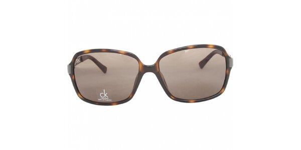 Dámské tmavě hnědé žíhané brýle Calvin Klein s kovovými stranicemi