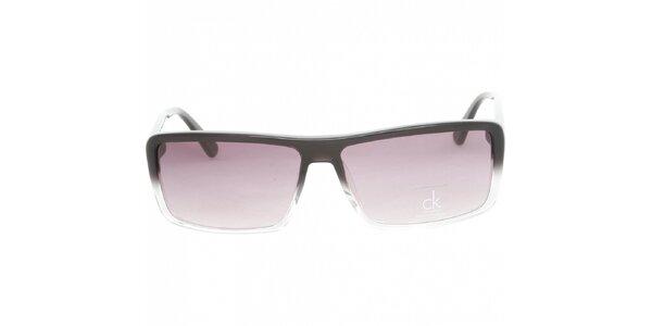 Dámské černobílé sluneční brýle Calvin Klein s fialovými skly