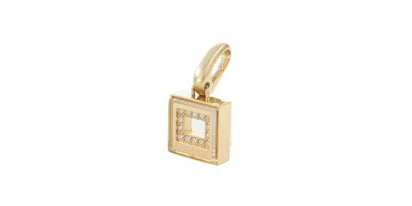 Dámský zlatý ocelový přívěsek se zirkony DKNY