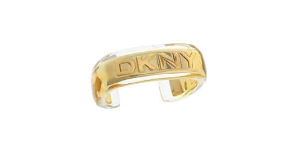 Dámský zlatý ocelový náramek s logem DKNY