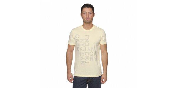 Pánské světle žluté tričko Calvin Klein s potiskem
