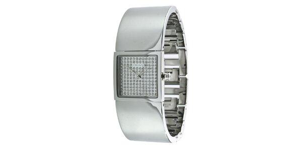 Dámské stříbrně tónované náramkové hodinky s krystaly DKNY