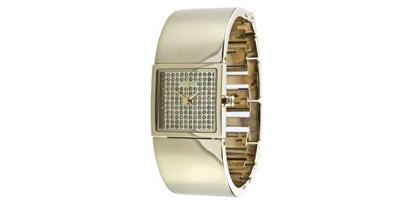 Dámské zlatě tónované náramkové hodinky s krystaly DKNY