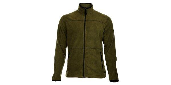 Pánská tmavě zelená fleecová mikina Bushman