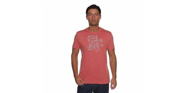Pánské lososové tričko Calvin Klein s potiskem