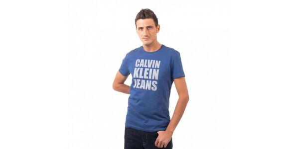 Pánské modré tričko Calvin Klein s potiskem