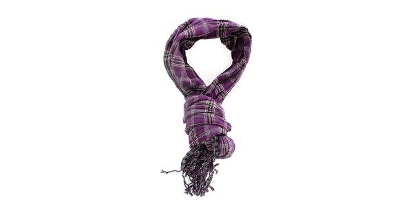 Pánský kostkovaný šedo-fialový šátek Timeout