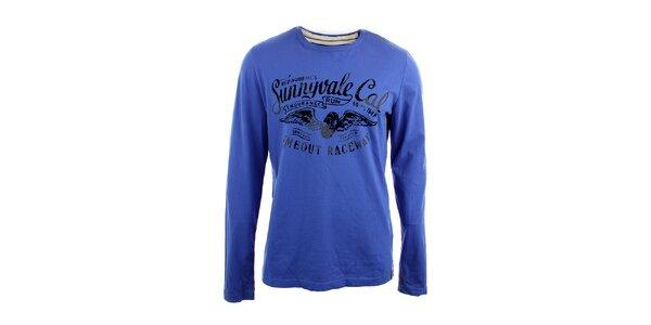 Pánské modré triko s černým vintage potiskem Timeout
