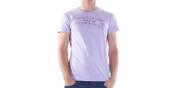 Pánské světle fialové tričko Calvin Klein s potiskem