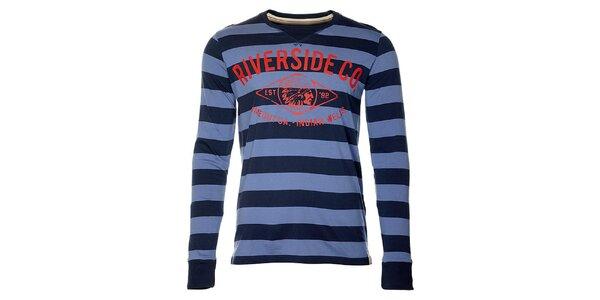 Pruhované modré pánské tričko Timeout s dlouhým rukávem