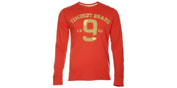 Červené pánské tričko Timeout s dlouhým rukávem