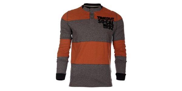 Pruhované oranžovošedé pánské tričko Timeout s dlouhým rukávem