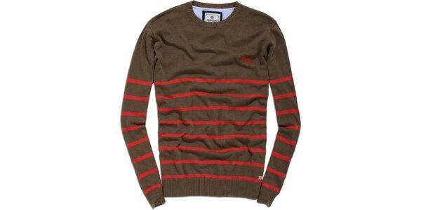Pánský hnědo-červený svetr s proužkem Timeout