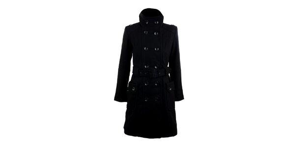 Dámský dvouřadý černý kabát Timeout