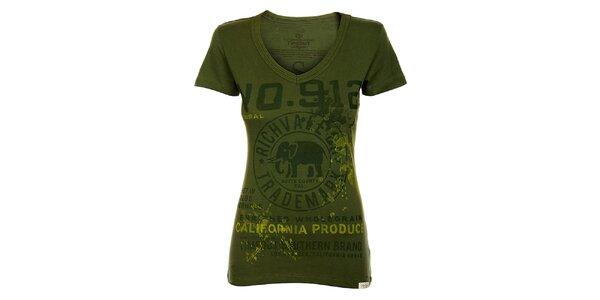 Dámské tmavě zelené tričko Timeout s potiskem